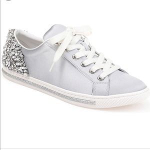 Badgley Mischka Shoes - Badgley Mischka Silver Shirley Crystals Sneakers
